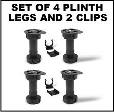 SET OF 4 KITCHEN PLINTH FEET/ LEGS+2 PLINTH CLIPS - BLACK CARCASE UNIT BASE LEGS