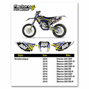 2015 SHERCO Team Motoboutique Dirt Bike Graphics Custom Number Plates