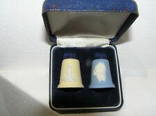 WEDGWOOD JASPER WARE CHRISTMAS THIMBLES PAIR BOXED YELLOW & BLUE 83 SANTA CLAUS