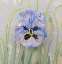 Pin Blue Wedding Lapel Hand Painted Forget-Me-Not Blue Pansy Brooch Blue Pansy