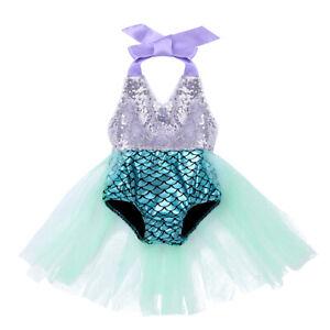 Baby Girls One-piece Halter Scales Printed Swimwear Sequined Mermaid Swimsuit
