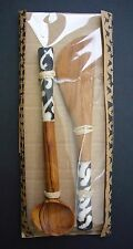 African Batik Olive Wood Small Condiment Spoon Knife Fork - Fairtrade Gift Set