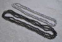 VINTAGE TO NOW GRAY FAUX PEARL & STONE BEADED LONG NECKLACE LOT