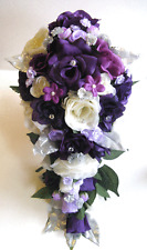 17 piece Wedding Bouquet Silk Flower Bridal Purple Plum Cream Lavender Silver