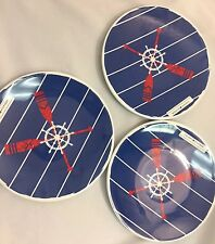 TOMMY HILFIGER Home Decor 3 Plate Set BPA free Melamine Sailor Nautical Red Blue