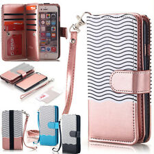 iPhone 7 6s 6 8 Plus X Slim Removable Magnetic Flip Wallet Leather Case Cover
