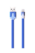Flat-Lightning/USB-Ladekabel blau für Apple iPhone X/8/7/6 iPad iPod blue flach