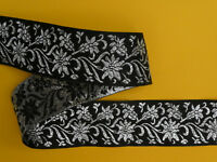 """5 METRES Black and Silver Floral Quality Woven Ribbon Trim 40mm/1.5"""" TOP SELLER"""