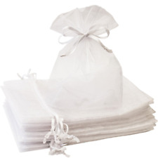 Creative Organza Bags 100 Pcs 5x7 inches White Sheer Mesh Gift Bag with Perfect