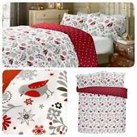Fusion Scandi Christmas Robin 100% Brushed Cotton Xmas Winter Duvet Cover Set