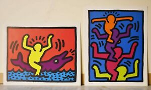 Two Keith Haring, Offset Prints Authorized By Estate 1992 Reproduction