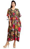 Indian Cotton Kaftan Plus Size Caftan Beach Cover Up Maxi Floral Gown Dress Boho
