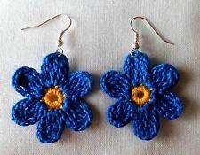 CROCHET BLUE DAISY FLOWER  SILVER HOOK DROP  DANGLE EARRINGS JEWELRY WOMEN  TEEN