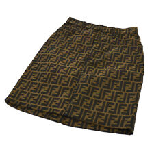 Authentic Fendi Vintage Zucca Pattern Skirt Brown Black Italy Ak25429