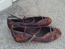 NEXT =Gorgeous Rose Gold & Black Brocade Flat Strappy Shoes size 6.5 bnwts