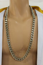 New Men Necklace Silver Metal Classic Chain Links Long Fashion Heavy Hip Hop