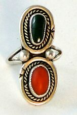 Vintage Zuni Cabochon Malachite & Coral Sterling Silver Statement Ring, 8