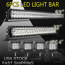 "7D+ 52Inch LED Light Bar Combo + 32"" + 4"" CREE PODS OFFROAD SUV 4WD FORD JEEP 22"
