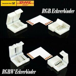 Eckverbinder für RGB RGBW Leiste LED Strip L Eck Winkel 90° Verbinder Clip Klick