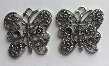 1 piece - large butterfly pendant zinc alloy - 4.1cm x 4.1cm