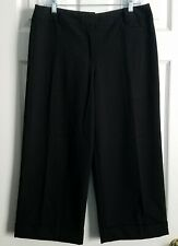 George Size 10 Black Flat Front Cuffed Cropped Dress Career Pants