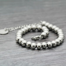 18K White Gold Filled Classic 4mm and 6mm Solid Ball Beads Chain Bracelet Bangle