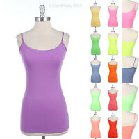 LAYERING Basic Solid Tunic Long Tank Top Cotton Spandex Cami Camisole Neon S M L