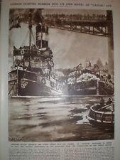 Dumping rubbish River thames Tower Bridge to fill cavities London 1932 print