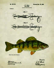Fishing Lure Patent Poster Art Print Antique Yellow Perch Reels Fish Rod PAT220