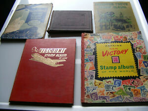 5  Vintage  World Stamp Albums  with  Approx 1,431 Stamps  1848 To Around 1970's