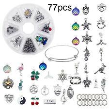 35 Assorted Pendants+7 Brass Rings Bracelet Bangle Jewelry DIY Self-Making Kits