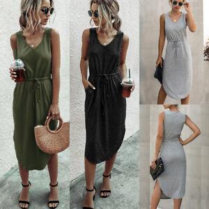 Women Comfy Drawstring T-shirt Dress Ladies Summer Sleeveless Casual Sundress UK
