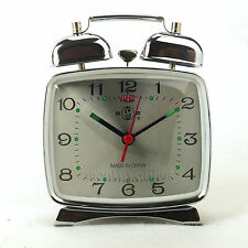 Silver Classic 70s Vintage Retro Art Deco Design Wind Up Metal Alarm Clock