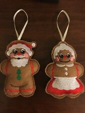 Handmade Embroidered Felt Mr & Mrs Claus Christmas Tree Ornament/Decoration Gift