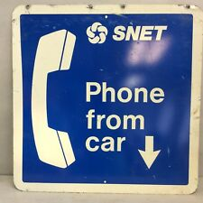 """Two-Sided Aluminum Sign """"SNET Phone From Car"""" 24"""" Square"""