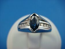14K WHITE GOLD SAPPHIRE AND DIAMONDS HIGH SET RING 5.3 GRAMS, SIZE 6