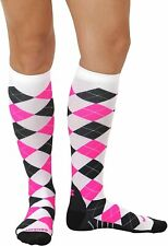 Zensah Men Compression Socks Argyle White / Gray / Neon Pink, M
