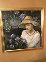 "Marie Weiss, Allentown Artist Painting Unsigned Framed 27""x27"" Flowers & Woman"