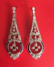 Dazzling 14K Art Deco Style Diamond & Sapphire Earrings