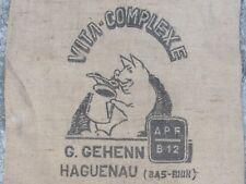 07E5 ANCIEN SAC AGRICOLE EN TOILE DE JUTE DÉCOR COCHON VITA-COMPLEXE HAGUENEAU