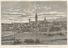 A4957 Romania - Sibiu - Veduta - Xilografia - Stampa Antica del 1895 - Engraving