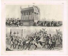 ANTIQUE PRINT VINTAGE 1851 ENGRAVING MILITARY HISTORY ANCIENT WARFARE CEREMONIAL