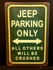 Jeep Parking Metal Sign / Vintage Garage Wall Decor (30 x 20cm)