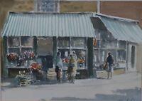 William G Perkins (British 20th Century) Reflections Norwich Market Watercolour