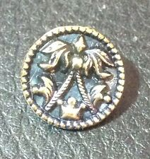 """Vintage 5/8"""" Brass Metal Crown And Banners  ?  Button"""