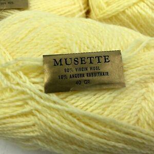 NOS Vintage MUSETTE Yarn LOT 5 Balls Skeins Yellow VIRGIN WOOL & ANGORA France