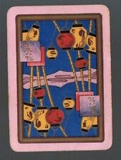 Playing Swap Cards 1 WIDE VINT  ORIENTAL LANTERNS  ON  BAMBOO  CANES  ENG 114EW