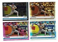 2019 Topps Chrome 4 Card Rainbow Lot Brandon Lowe #151 Rays Refractors, Prism RC