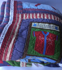"""Pottery Barn Kids Full/Queen Multicolored Patchwork Quilt 'Sports' 66""""X 86"""""""