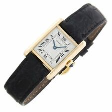 Cartier Tank 18k Yellow Gold Vintage Sapphire Roman Swiss manual ladies watch